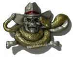 SNAKE & SKULL WEARING HAT BELT BUCKLE + display stand. Code KB4